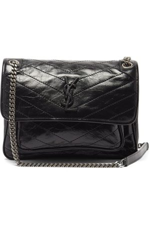 Saint Laurent Niki Medium Ysl-plaque Leather Shoulder Bag - Womens