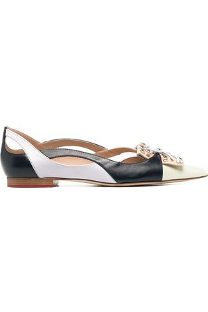 Scarosso Bow-detail pointed-toe ballerina shoes - Neutrals
