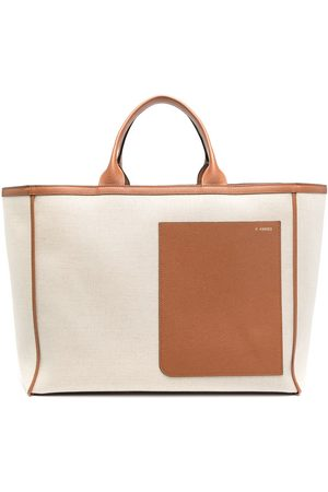 VALEXTRA Two-tone tote bag - Neutrals