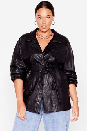 NASTY GAL Womens Life On Mars Plus Faux Leather Belted Jacket - - 16