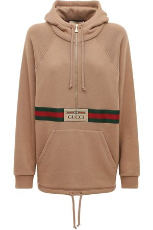Gucci Logo Cotton Jersey Hoodie W/ Front Zip