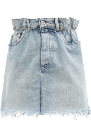 Miu Miu Gathered-waist Frayed Denim Skirt - Womens - Denim
