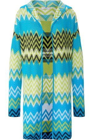 Peter Hahn Long-sleeved cardigan hood in 100% cotton turquoise size: 10