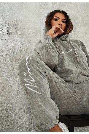 Missguided Co Ord Velvet Script Loungewear Hoodie