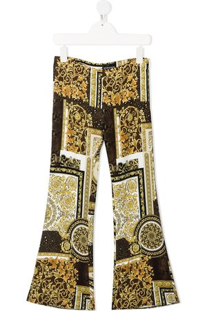 VERSACE Girls Trousers - Baroque-print flared trousers