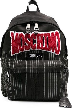 Moschino Logo-patch striped backpack