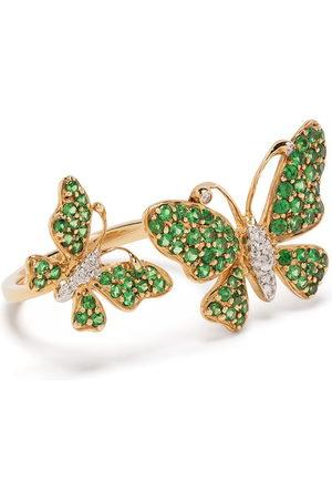 Stefere 18kt yellow diamond garnet butterfly ring