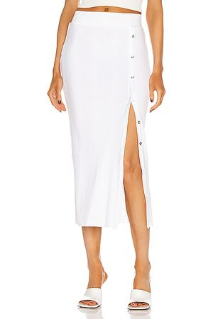 THE RANGE Wave Rib Button Up Midi Skirt in