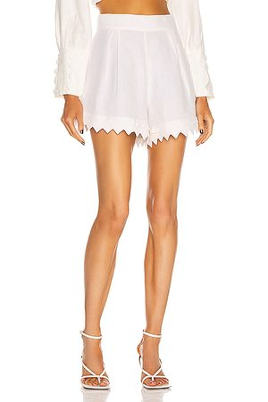 Adriana Degreas Linen Pleated Short With Application in