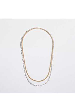 River Island Men Necklaces - Mens Metal mixed double chain necklace