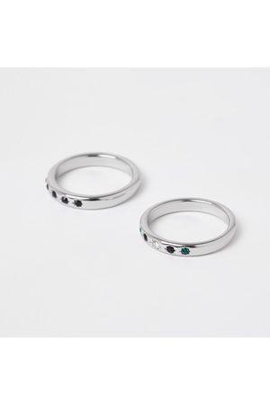 River Island Men Rings - Mens stone rings 2 pack
