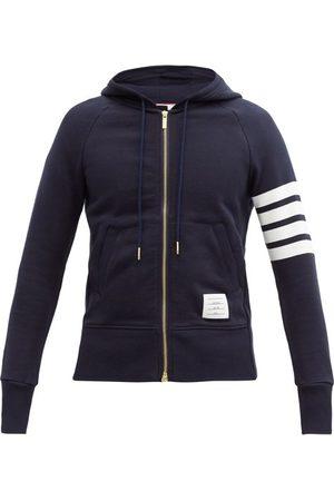Thom Browne Men Sweatshirts - Four-bar Zip-through Cotton Hooded Sweatshirt - Mens - Navy