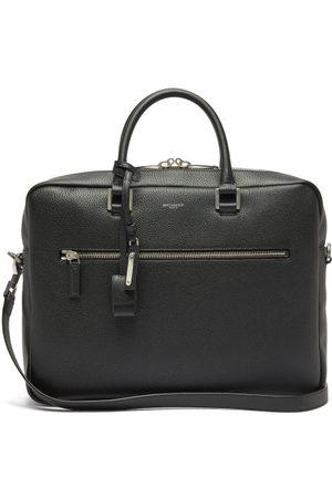 Saint Laurent Men Laptop & Business Bags - Milo Logo-embossed Grained-leather Briefcase - Mens