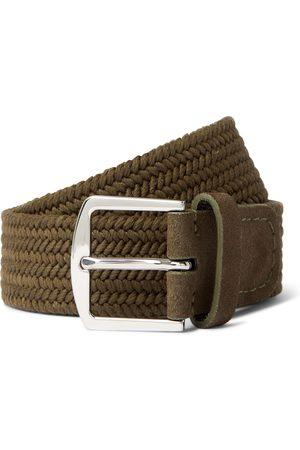 Loro Piana 3.5cm Suede-Trimmed Woven Cotton Belt