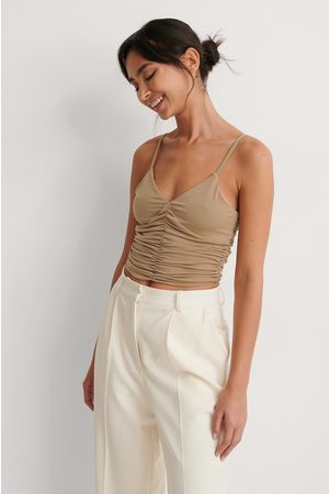 NA-KD Rouched Cropped Top - Brown