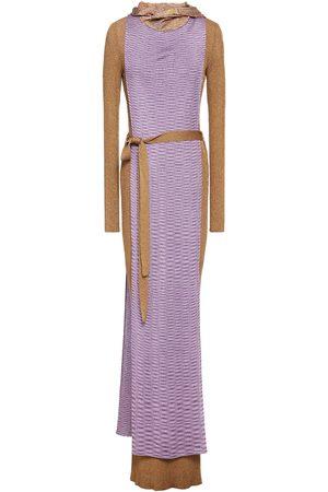 Missoni Women Maxi Dresses - Woman Cape-effect Belted Metallic Ribbed-knit Maxi Dress Brass Size 38