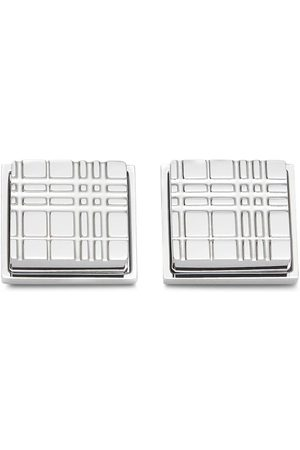Burberry Check-engraved square cufflinks