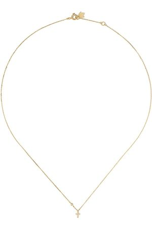 Feidt Paris 18kt yellow diamond mini cross necklace