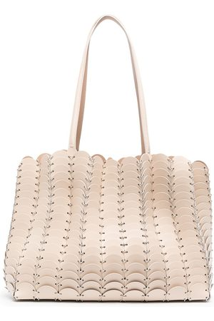 Paco rabanne Chain-link leather tote bag - Neutrals