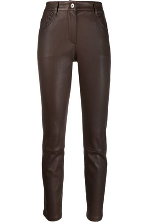 Brunello Cucinelli Slim-fit leather trousers