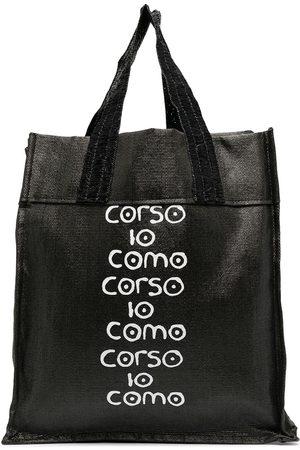 10 CORSO COMO Logo-print raffia tote bag