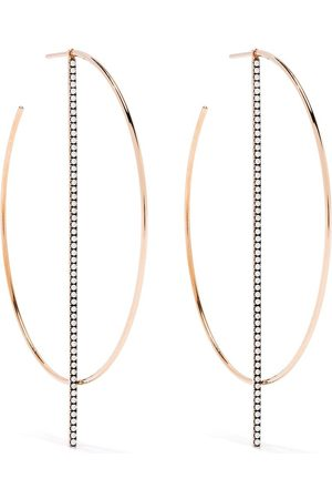 Diane Kordas 18kt rose gold diamond bar hoop earrings