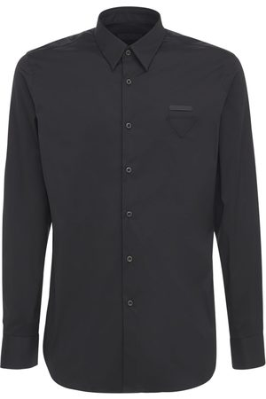 Prada Triangle Logo Label Cotton Poplin Shirt