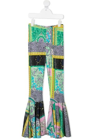 VERSACE Girls Trousers - Barocco-print flared trousers