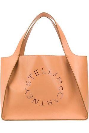 Stella McCartney Logo perforated tote bag - Neutrals