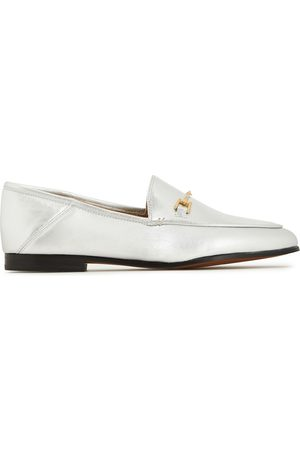 Sam Edelman Woman Loraine Embellished Metallic Leather Collapsible-heel Loafers Size 5.5