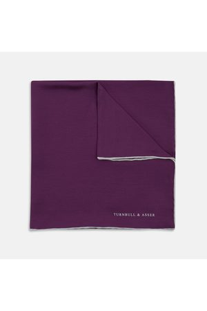Turnbull & Asser Plain Silk Pocket Square with piping