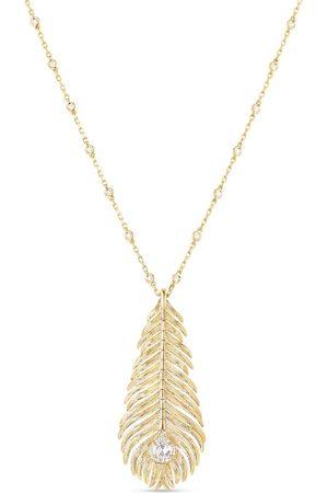 Boucheron 18kt yellow diamond Plume de Paon pendant necklace