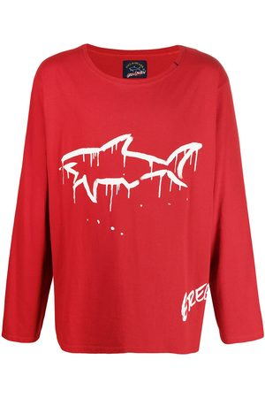 GREG LAUREN Long-sleeve shark print T-shirt