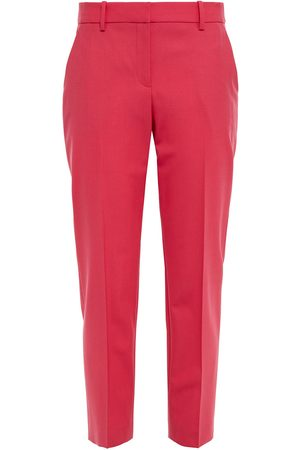 THEORY Women Formal Trousers - Woman Cropped Stretch-wool Slim-leg Pants Fuchsia Size 0