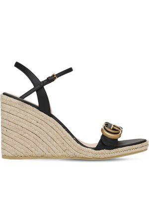 Gucci 85mm Leather Platform Espadrilles