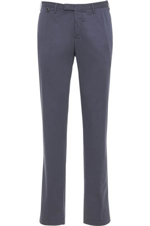 Pantaloni Torino Men Skinny Trousers - Slim Wedge Stretch Cotton & Silk Pants