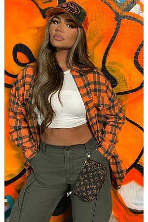 PRETTYLITTLETHING Tartan Checked Flannel Pocket Detail Oversized Shirt