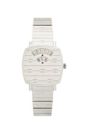 Gucci Grip Two-window Stainless-steel Watch - Womens