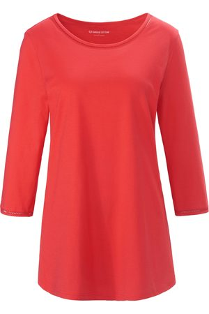 Green Cotton Women Tops - Round neck top 3/4-length sleeves bright size: 12