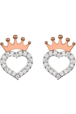 Disney Women Earrings - Princess Sterling Crystal Heart And Rose Gold Crown Earrings