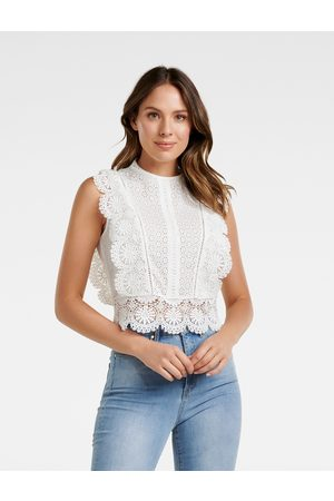 Forever New Women's Brohden Broderie Crop Top in Porcelain, Size 4 Viscose/Cotton