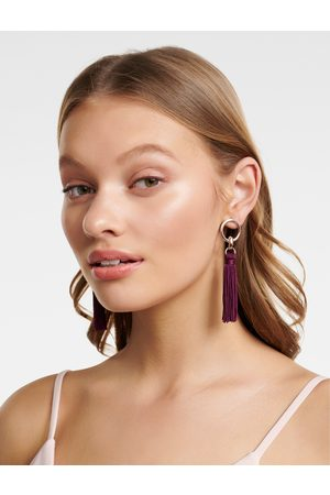 Forever New Women's Nellie Tassel and Circle Drop Earrings in Plum Zinc/Fabric