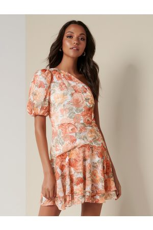 Forever New Women's Matilda One-Sleeve Mini Dress in Coral Sunrise Floral, Size 14 Polyester/Elastane