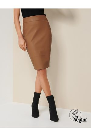 Forever New Women's Alex Faux Leather Pencil Skirt in Camel, Size 10 Cotton/Polyester/Viscose