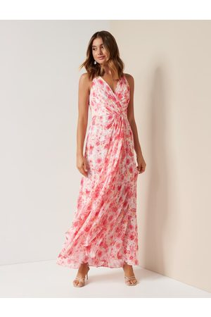Forever New Women's Quinn Halterneck Maxi Dress in Rosy Watercolour, Size 10 Viscose/Polyester