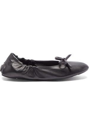 Prada Bow Leather Ballet Flats - Womens