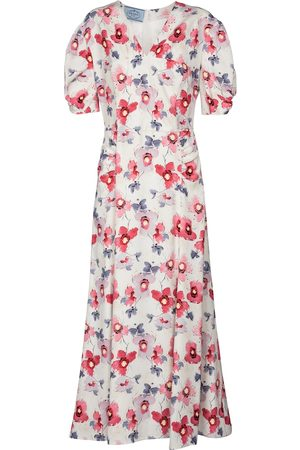 Prada Floral satin midi dress