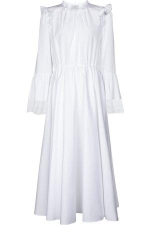 Giambattista Valli Lace-trimmed cotton midi dress