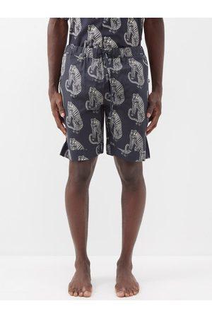 Desmond & Dempsey Sansindo Tiger-print Cotton Pyjama Shorts - Mens - Multi
