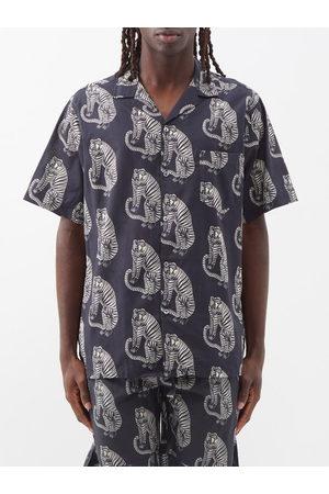 Desmond & Dempsey Sansindo Tiger-print Cotton Pyjama Shirt - Mens - Multi